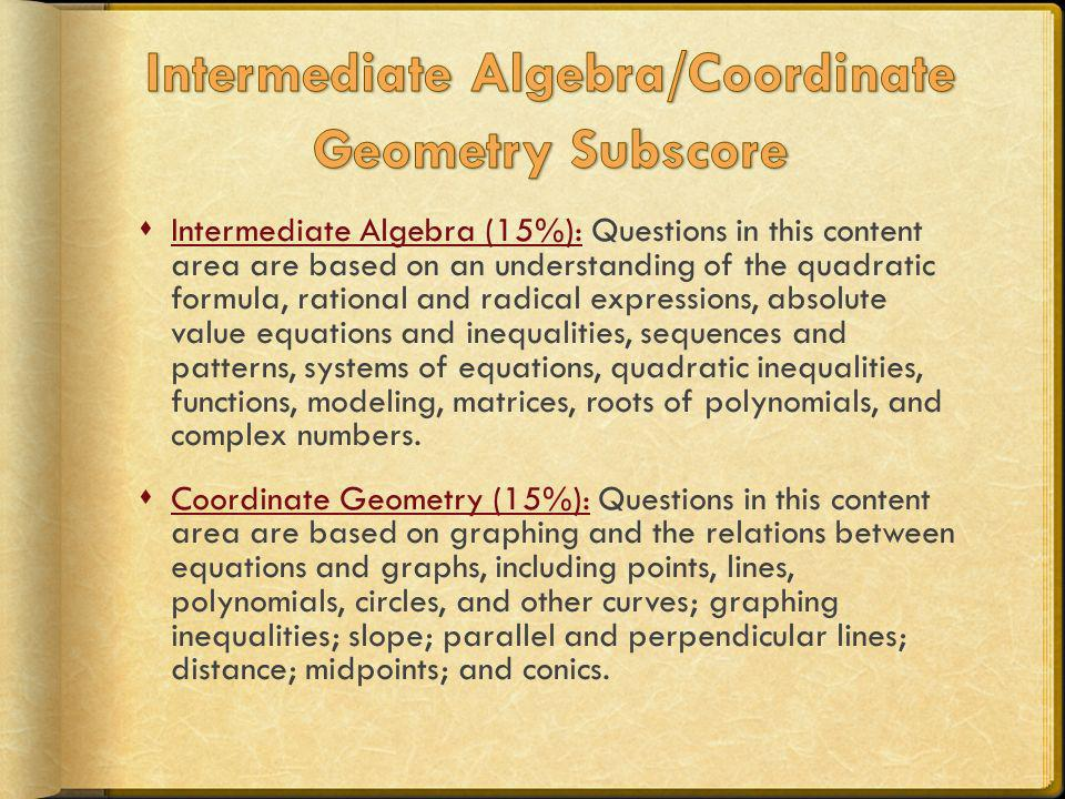 Intermediate Algebra/Coordinate Geometry Subscore