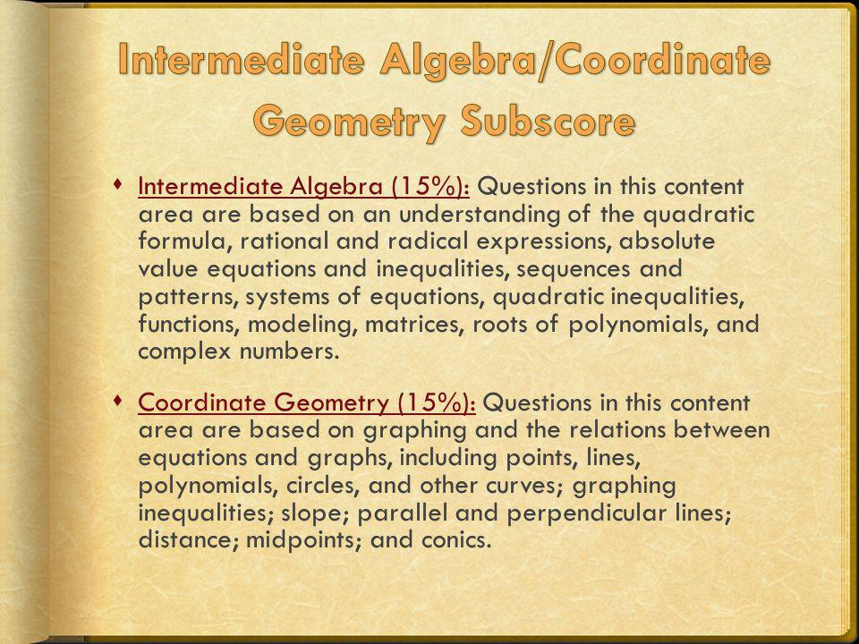 Intermediate Algebra/Coordinate Geometry Subscore