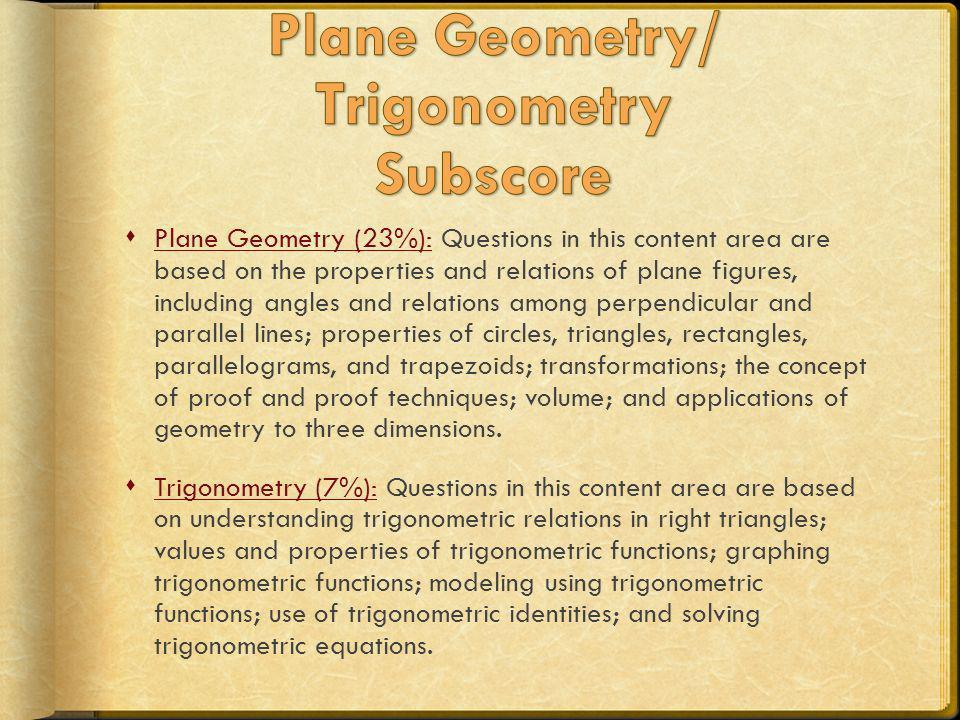 Plane Geometry/ Trigonometry Subscore