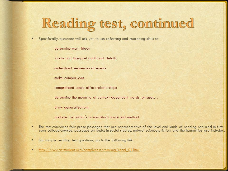 Reading test, continued