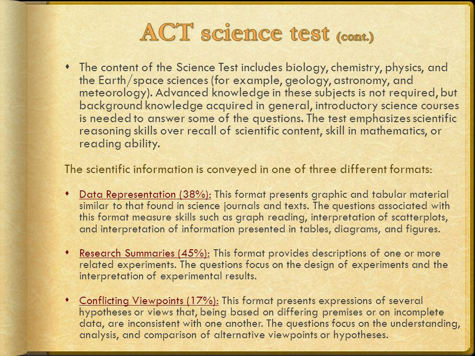 ACT science test (cont.)