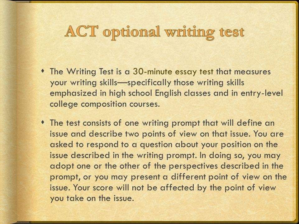 act essay view These domain scores are derived by adding together the individual scores, on a  1–6 scale, from each of two readers view sample writing prompts and essays.