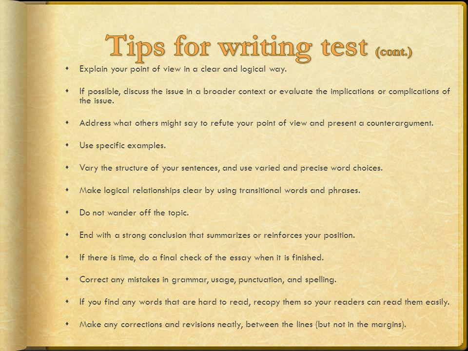 Tips for writing test (cont.)