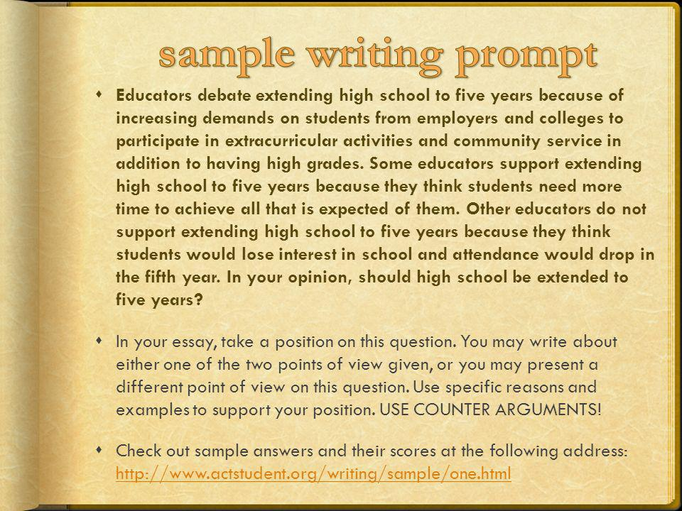sample writing prompt