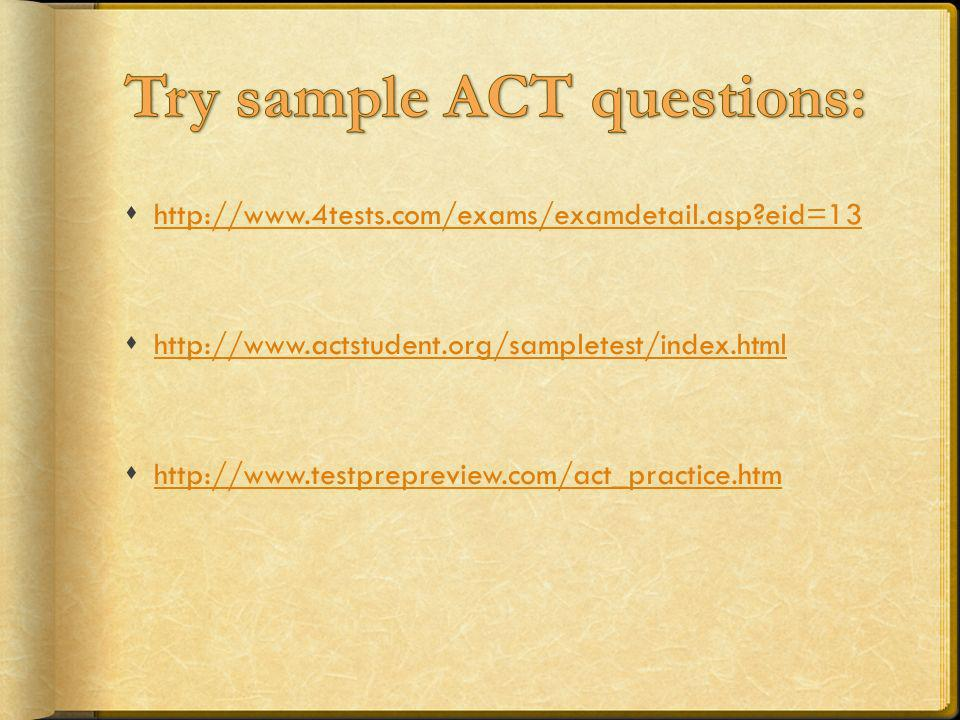 Try sample ACT questions: