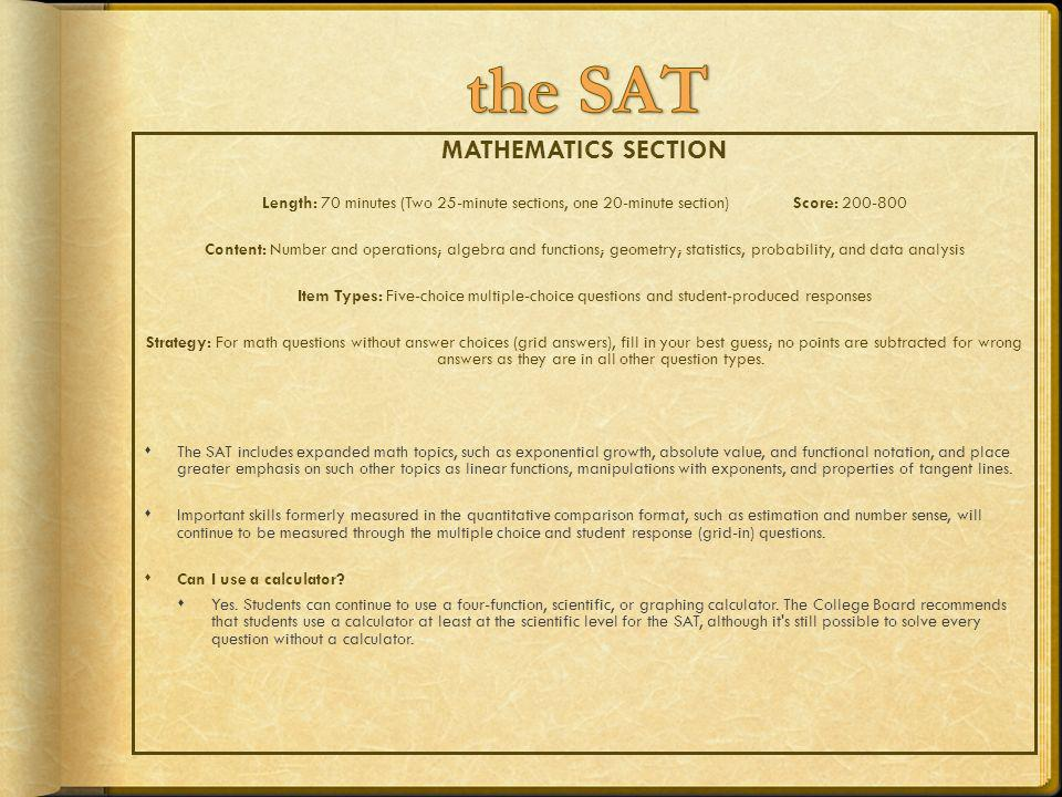 the SAT MATHEMATICS SECTION