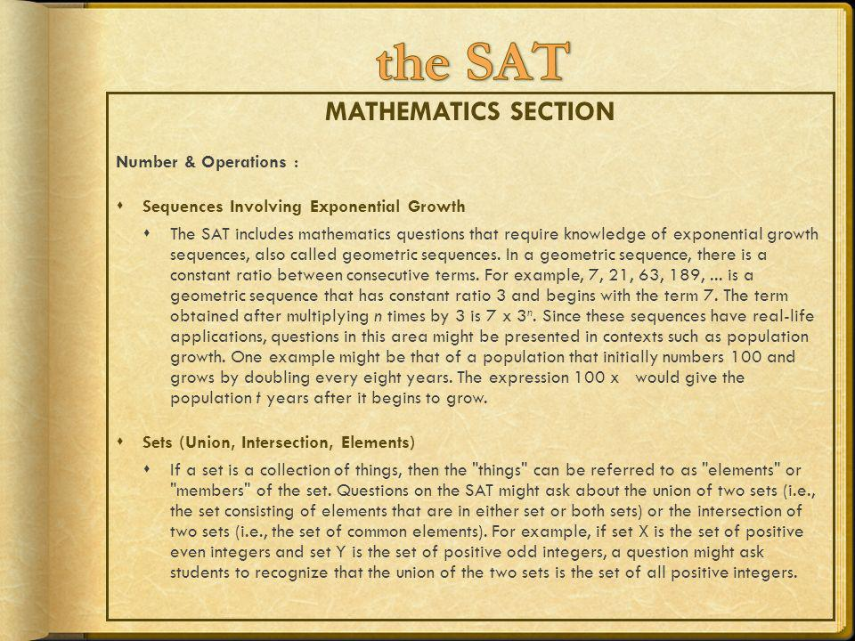 the SAT MATHEMATICS SECTION Number & Operations :