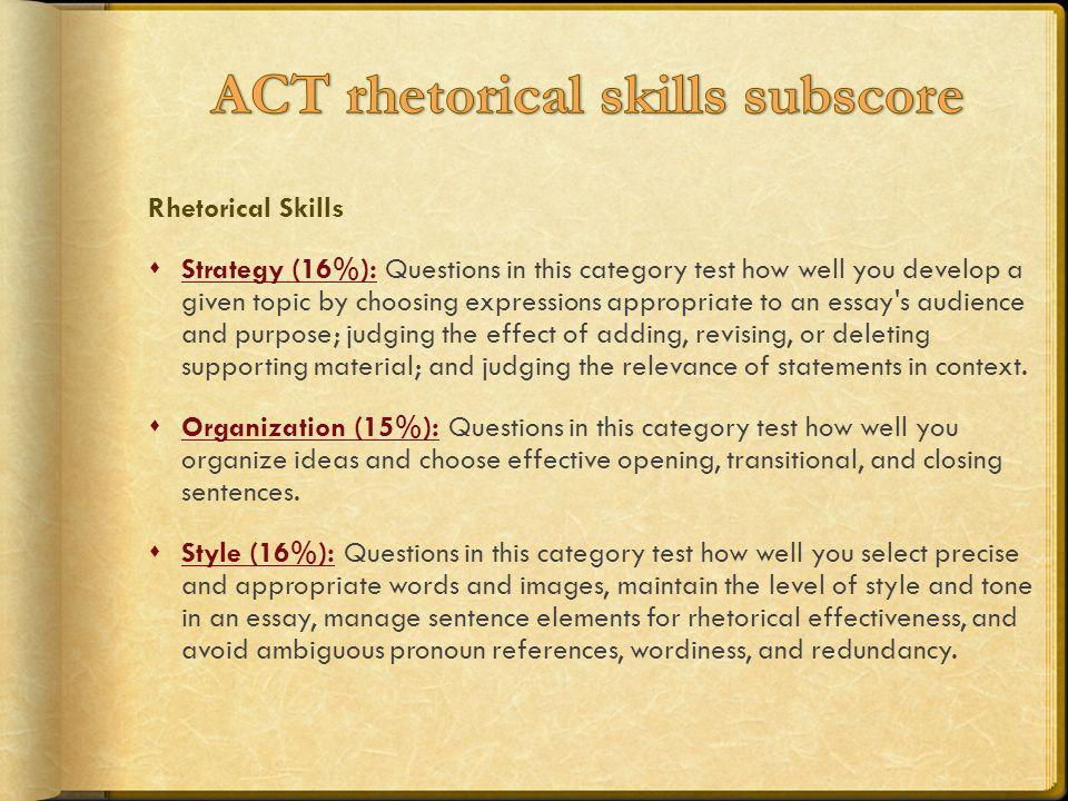 ACT rhetorical skills subscore