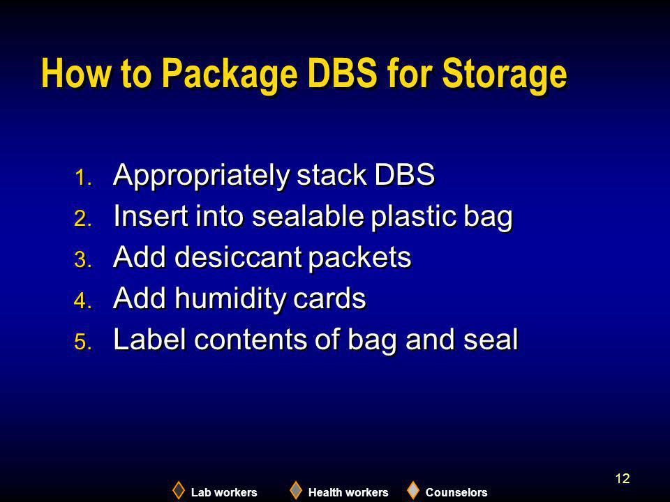 How to Package DBS for Storage