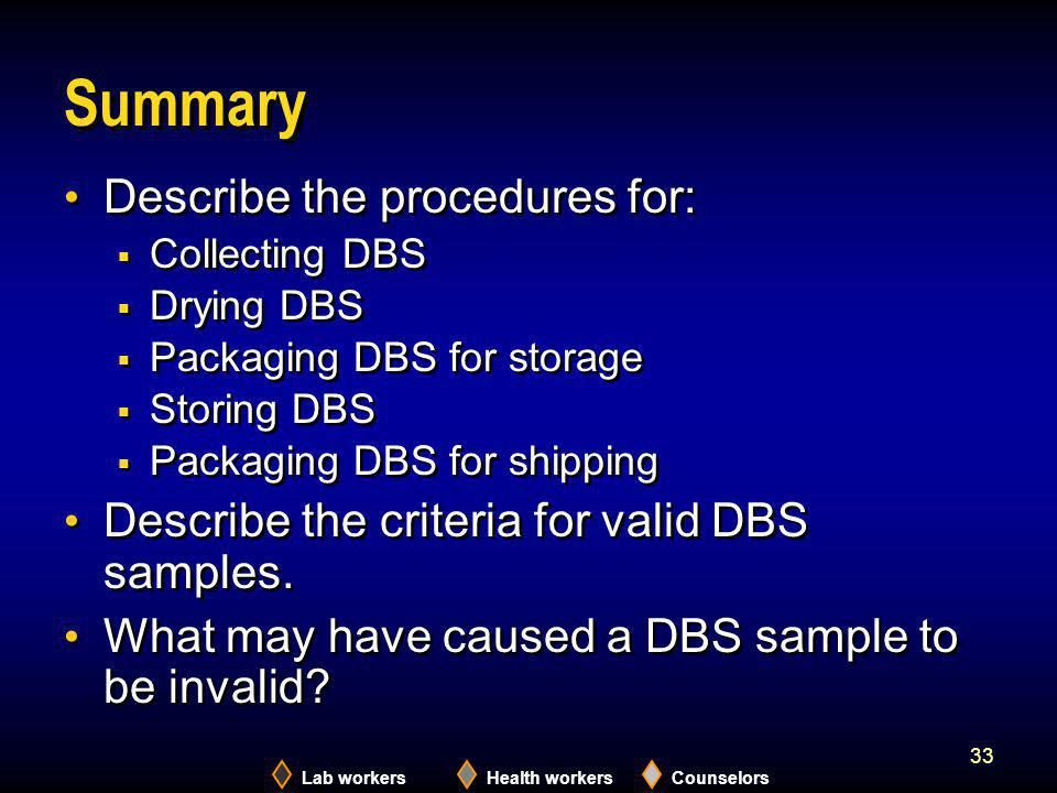 Summary Describe the procedures for: