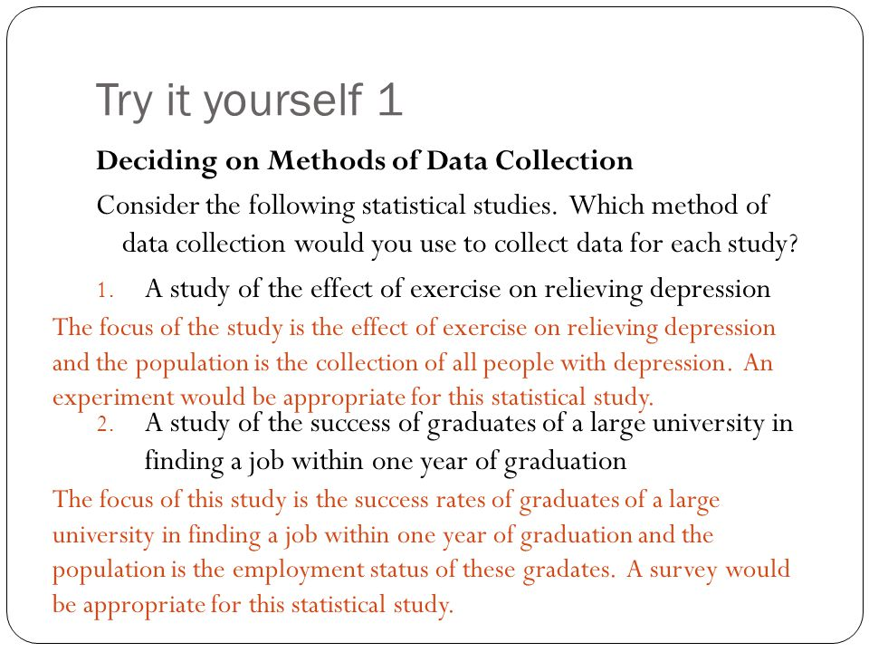 Try it yourself 1 Deciding on Methods of Data Collection