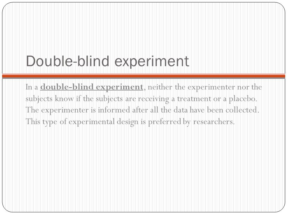 Double-blind experiment