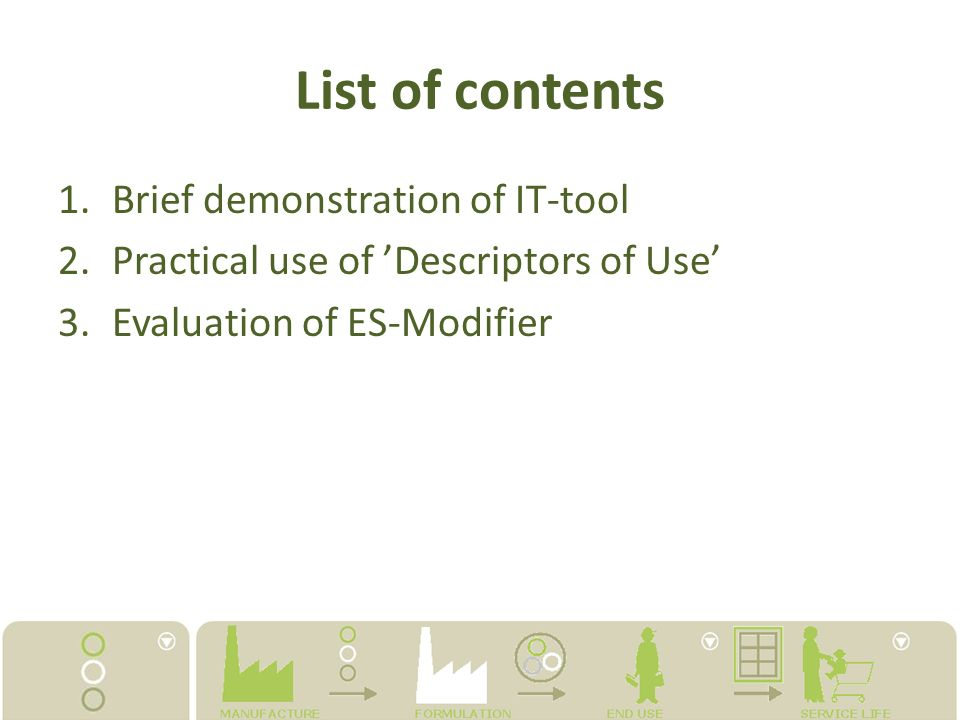 List of contents Brief demonstration of IT-tool