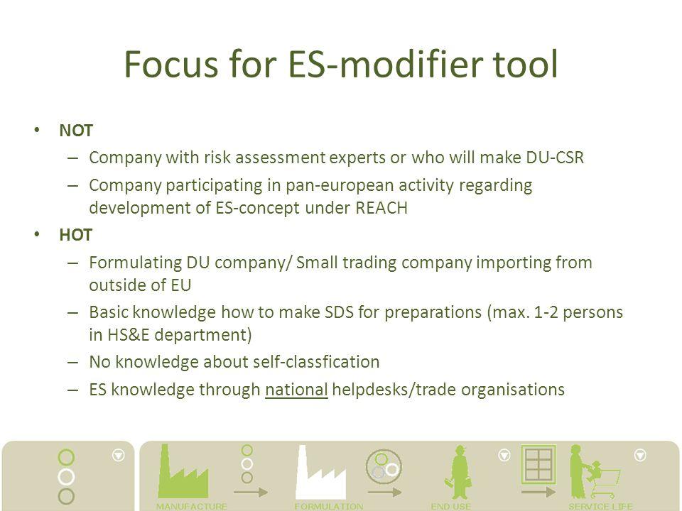 Focus for ES-modifier tool