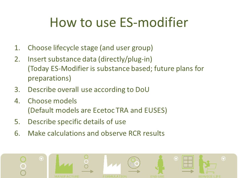 How to use ES-modifier Choose lifecycle stage (and user group)
