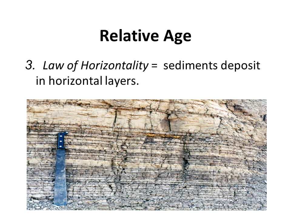 Relative Age 3. Law of Horizontality = sediments deposit in horizontal layers.