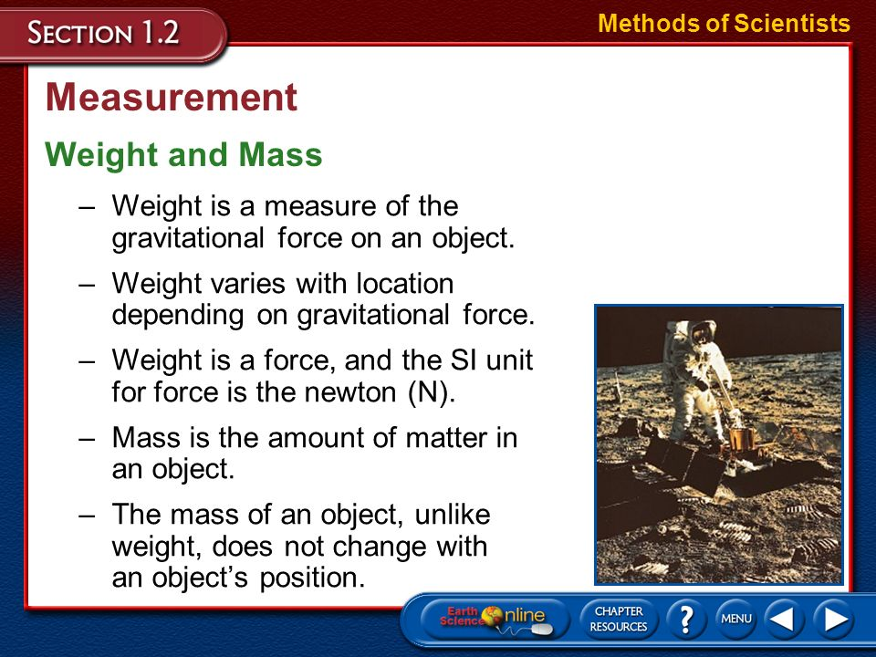 Measurement Weight and Mass