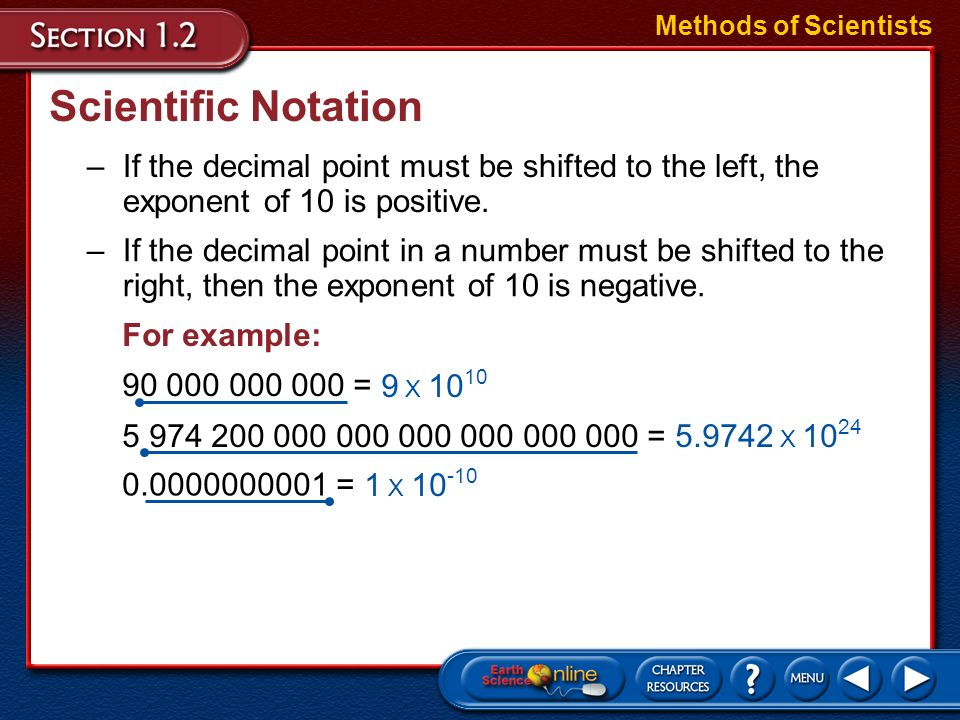 Methods of Scientists Scientific Notation. If the decimal point must be shifted to the left, the exponent of 10 is positive.