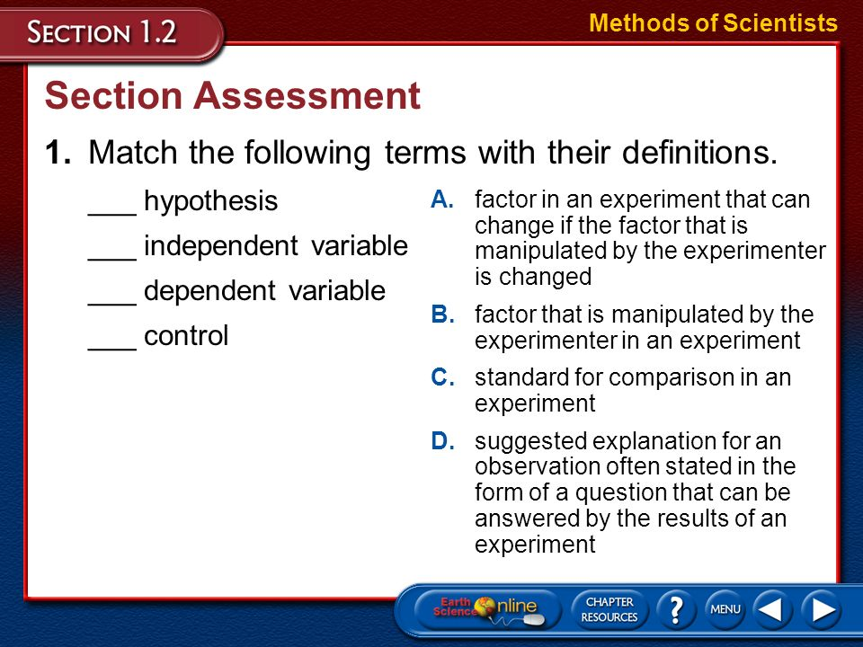 Methods of ScientistsSection Assessment. 1. Match the following terms with their definitions. ___ hypothesis.