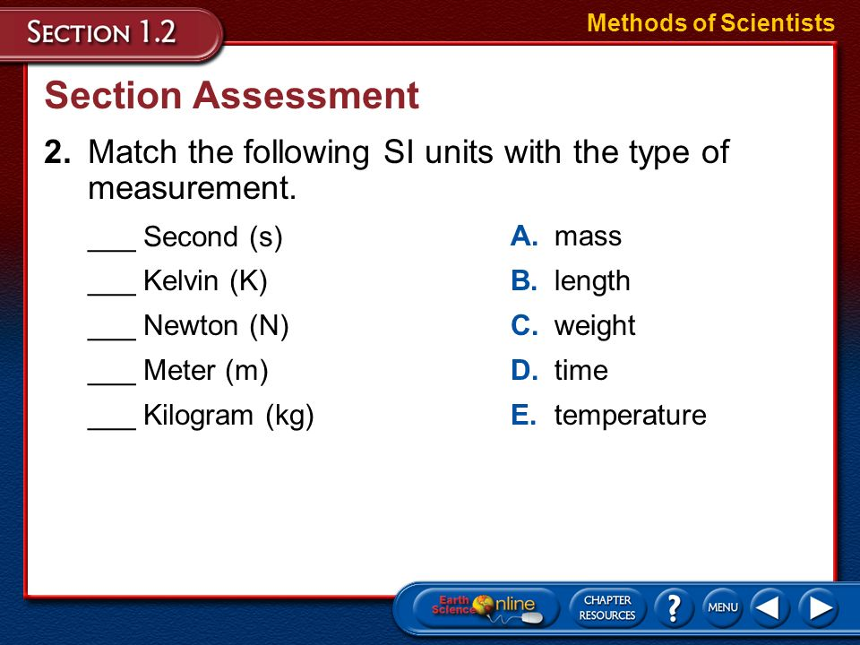 Methods of ScientistsSection Assessment. 2. Match the following SI units with the type of measurement.