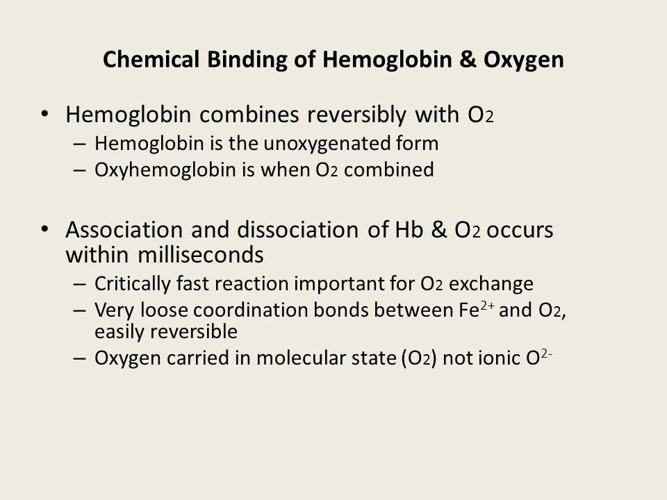 Chemical Binding of Hemoglobin & Oxygen