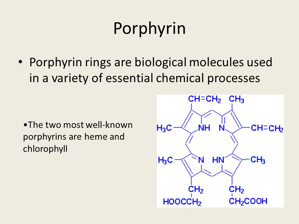 Porphyrin Porphyrin rings are biological molecules used in a variety of essential chemical processes.
