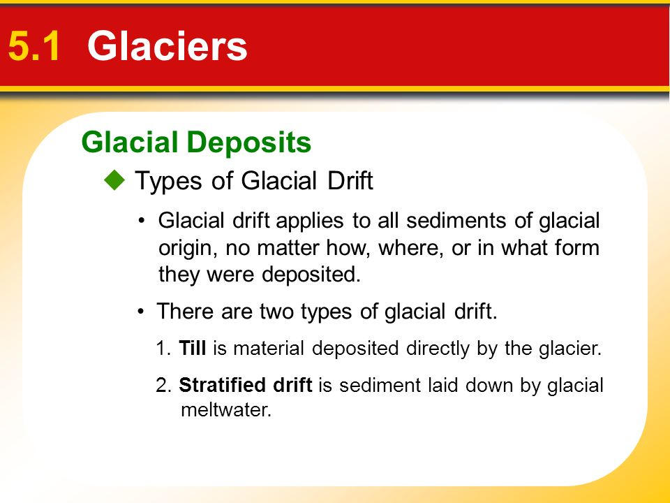 5.1 Glaciers Glacial Deposits  Types of Glacial Drift