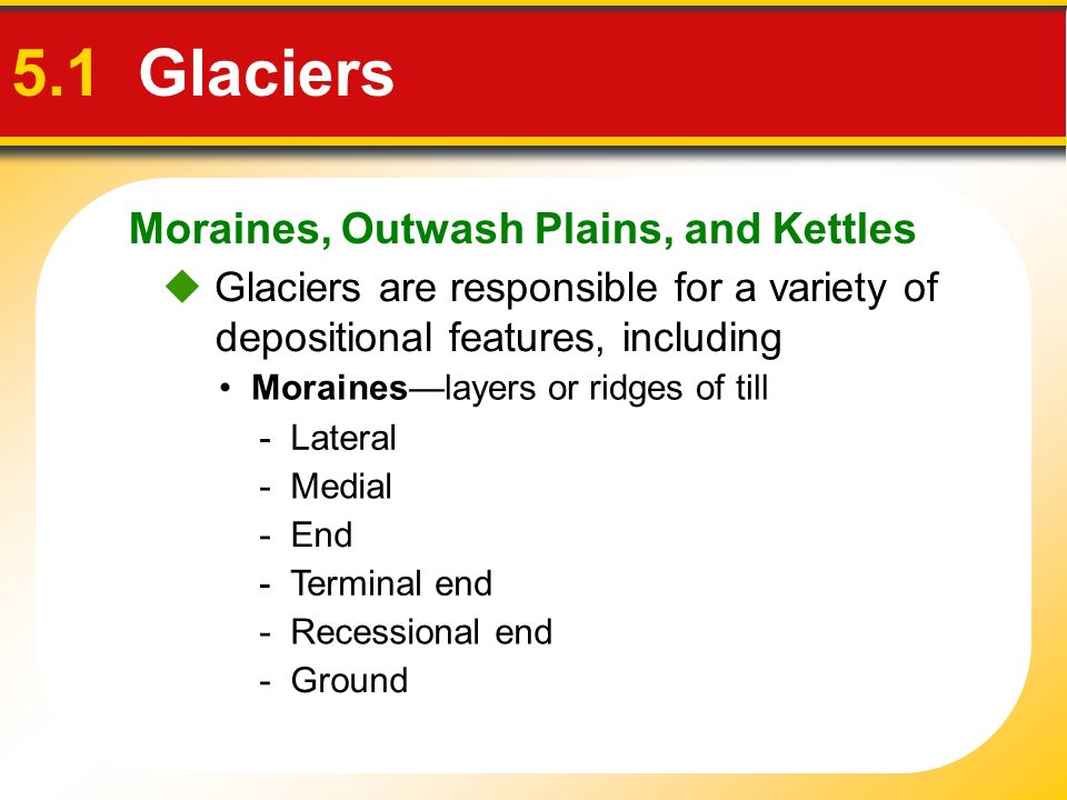 5.1 Glaciers Moraines, Outwash Plains, and Kettles