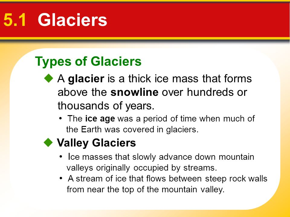 5.1 Glaciers Types of Glaciers