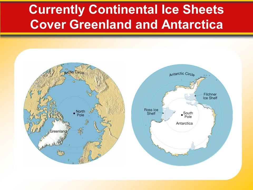 Currently Continental Ice Sheets Cover Greenland and Antarctica