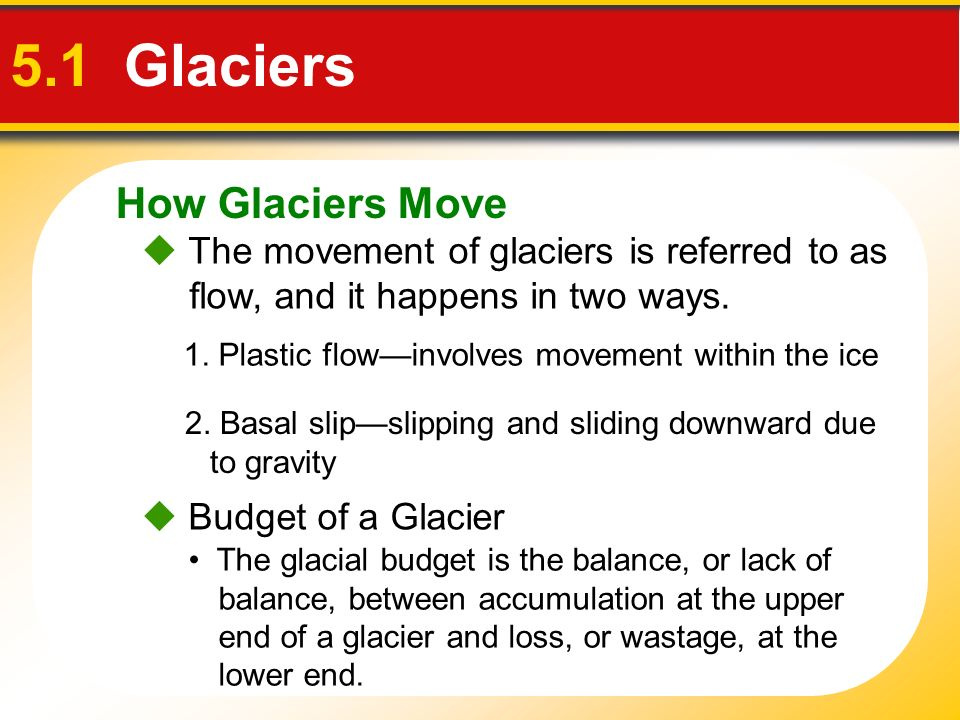 5.1 Glaciers How Glaciers Move