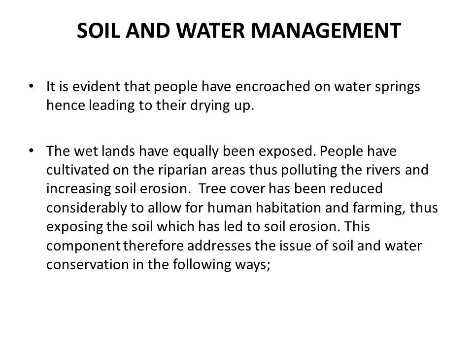 SOIL AND WATER MANAGEMENT