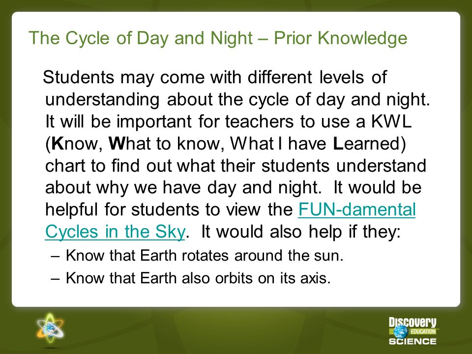 The Cycle of Day and Night – Prior Knowledge