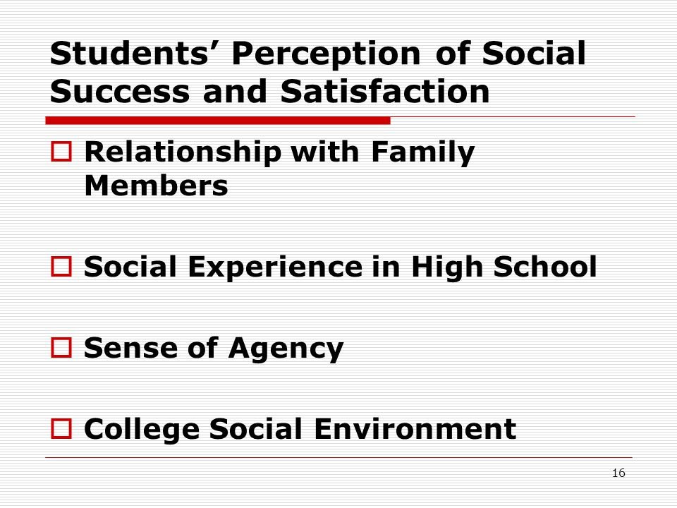 Students' Perception of Social Success and Satisfaction