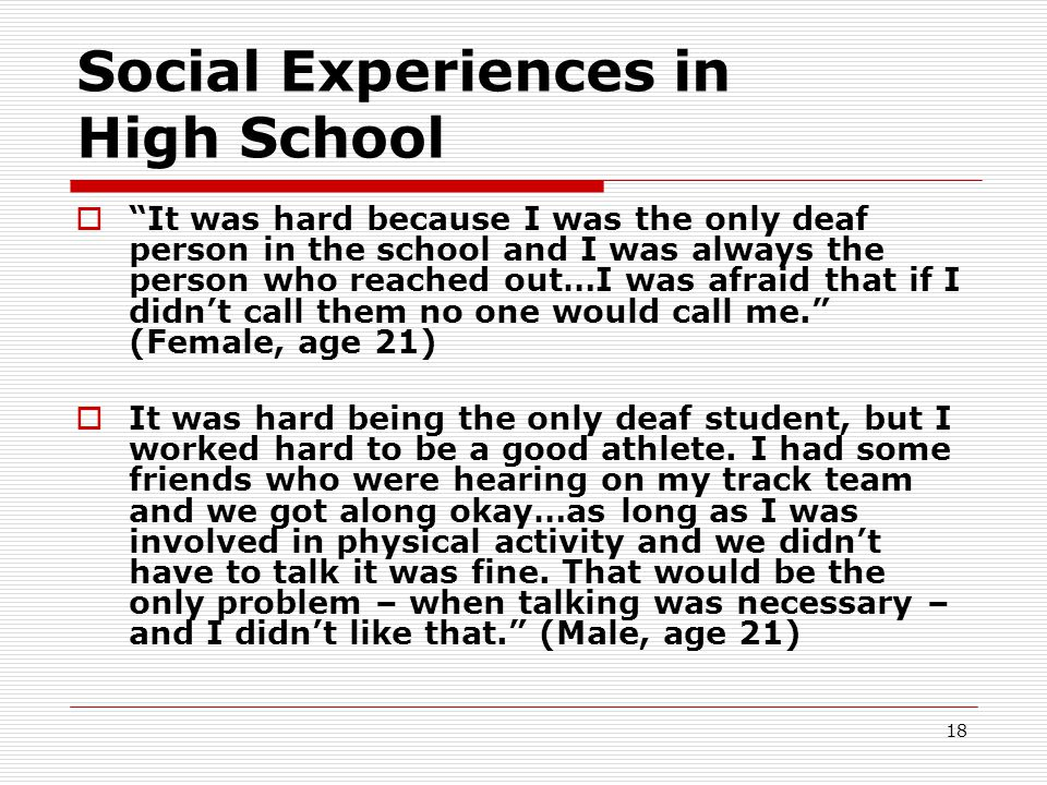 Social Experiences in High School