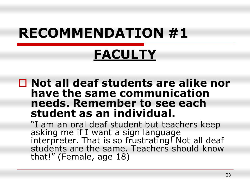 RECOMMENDATION #1 FACULTY