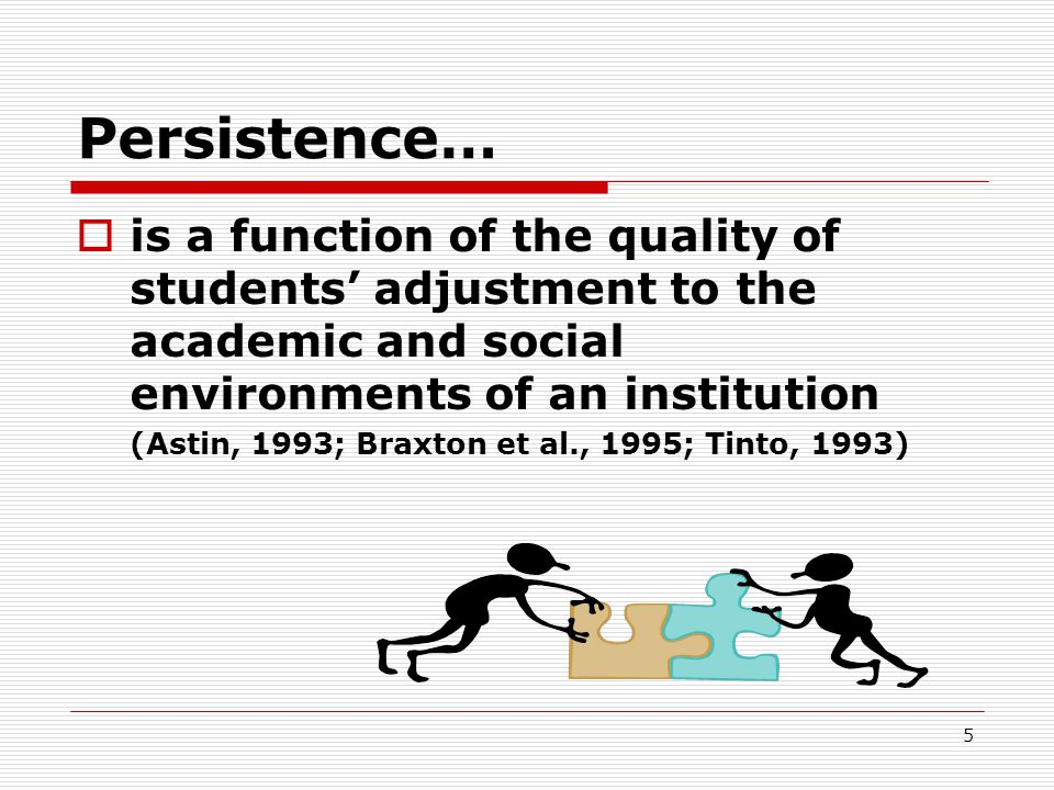 Persistence… is a function of the quality of students' adjustment to the academic and social environments of an institution.