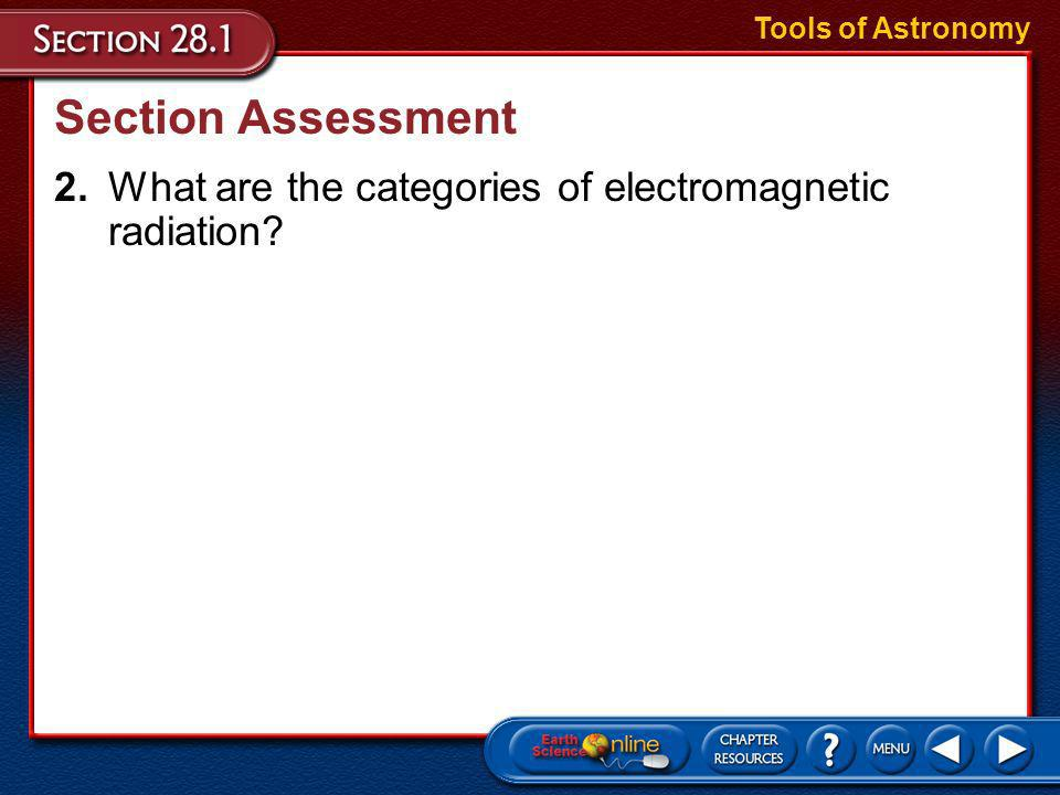 Tools of Astronomy Section Assessment 2. What are the categories of electromagnetic radiation