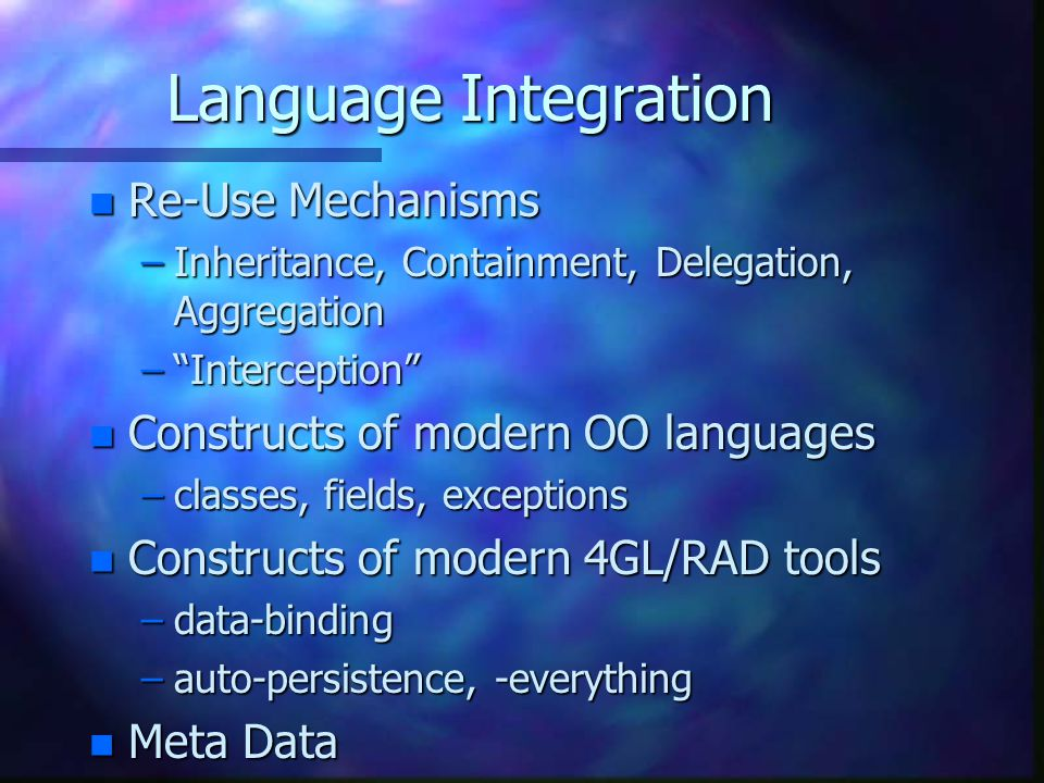 Language Integration Re-Use Mechanisms