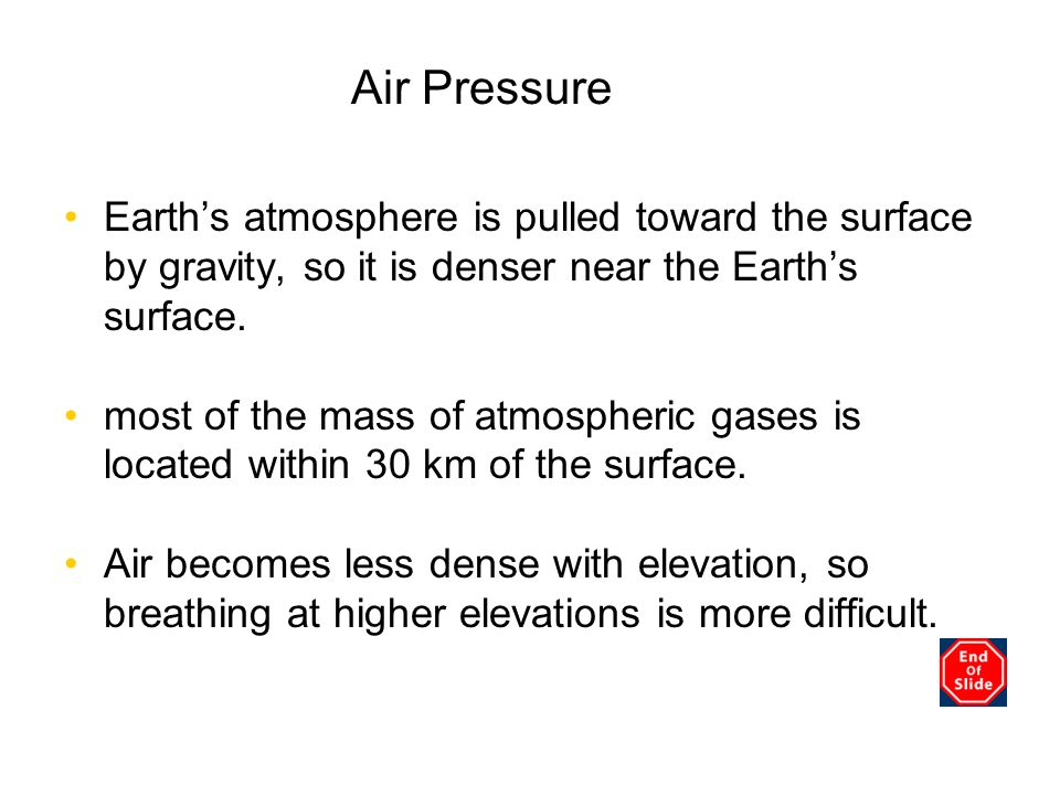 Chapter 3 Air Pressure. Earth's atmosphere is pulled toward the surface by gravity, so it is denser near the Earth's surface.