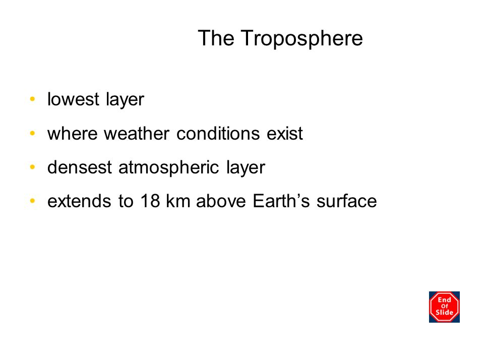 The Troposphere Chapter 3 lowest layer where weather conditions exist