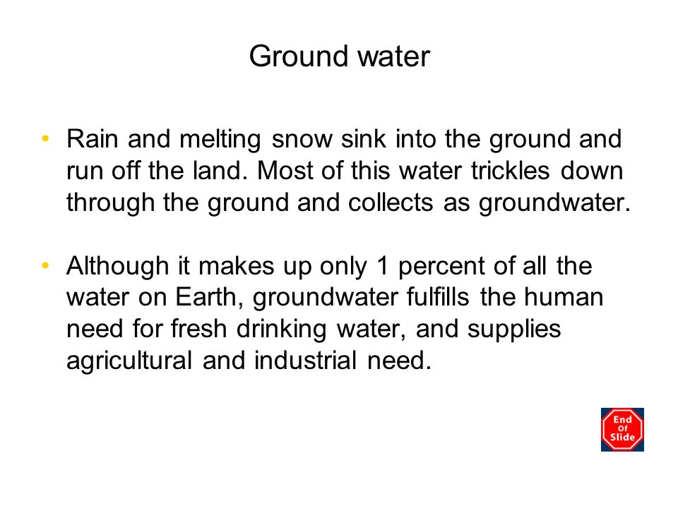 Chapter 3 Ground water.
