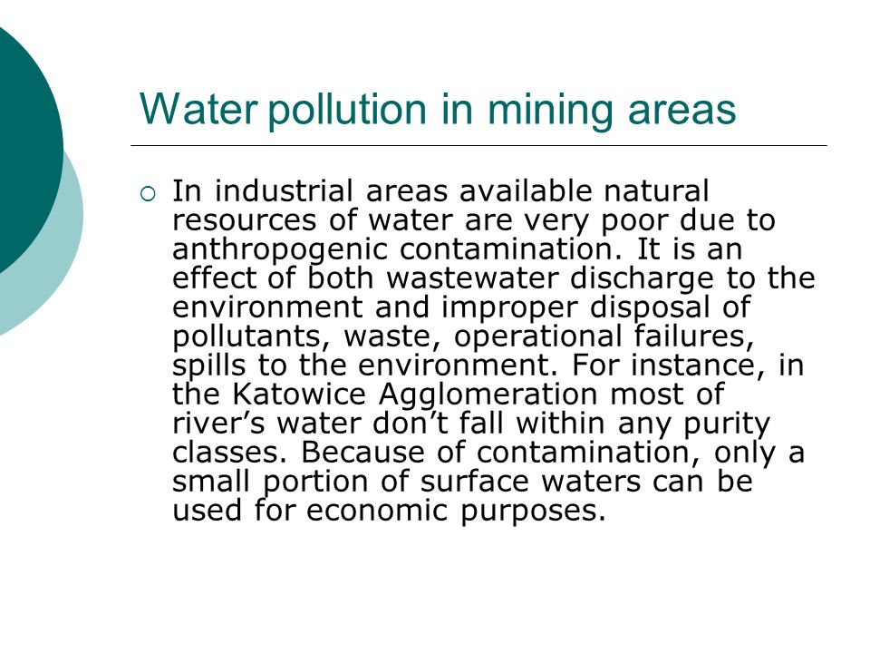 Water pollution in mining areas