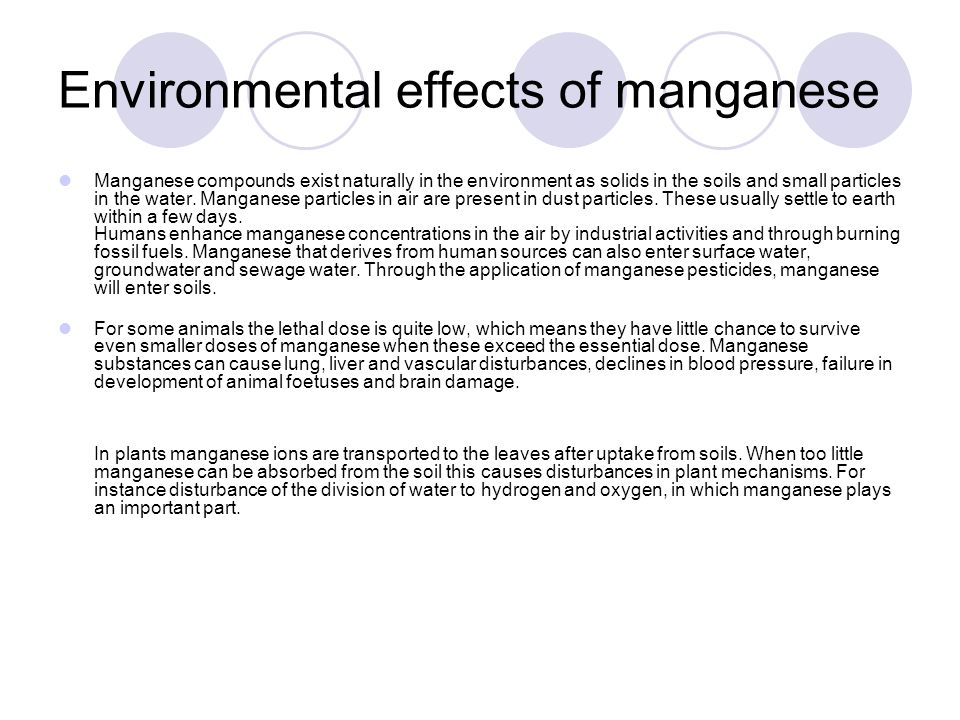 Environmental effects of manganese