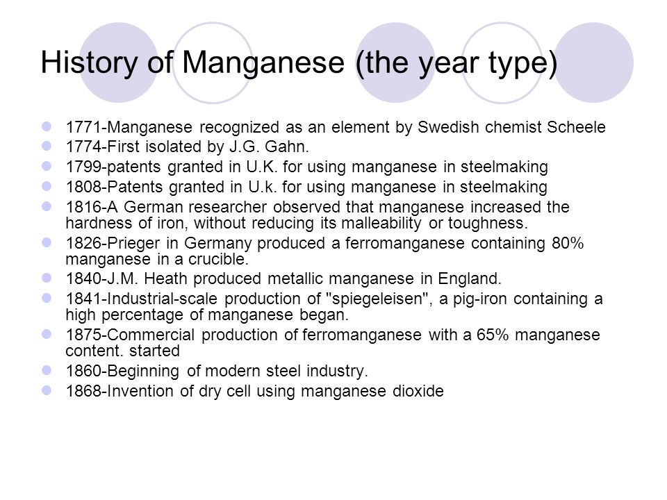 History of Manganese (the year type)