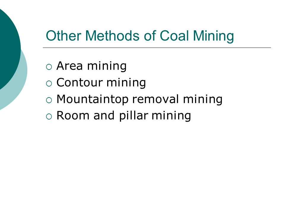 Other Methods of Coal Mining