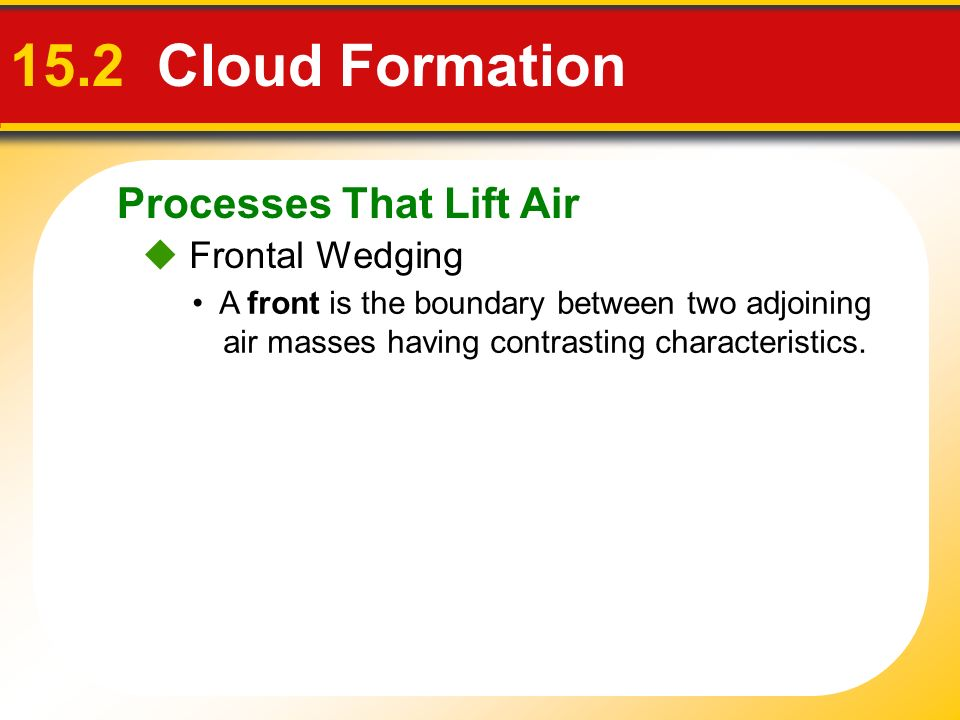 15.2 Cloud Formation Processes That Lift Air  Frontal Wedging