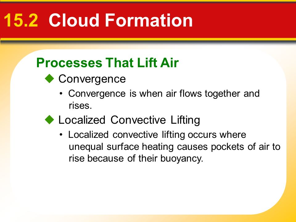 15.2 Cloud Formation Processes That Lift Air  Convergence