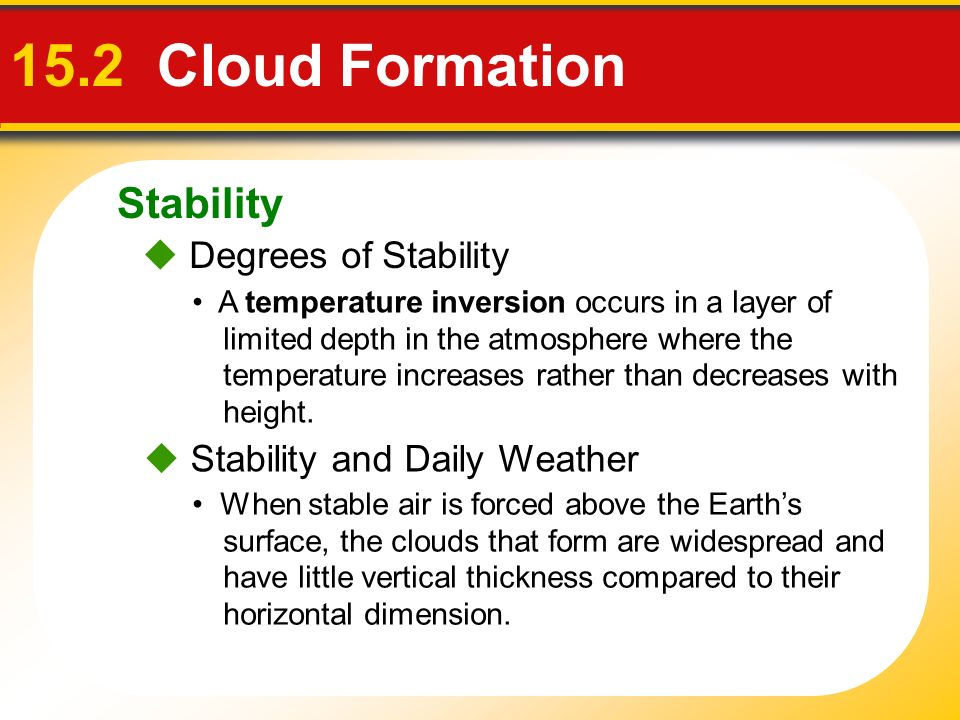 15.2 Cloud Formation Stability  Degrees of Stability