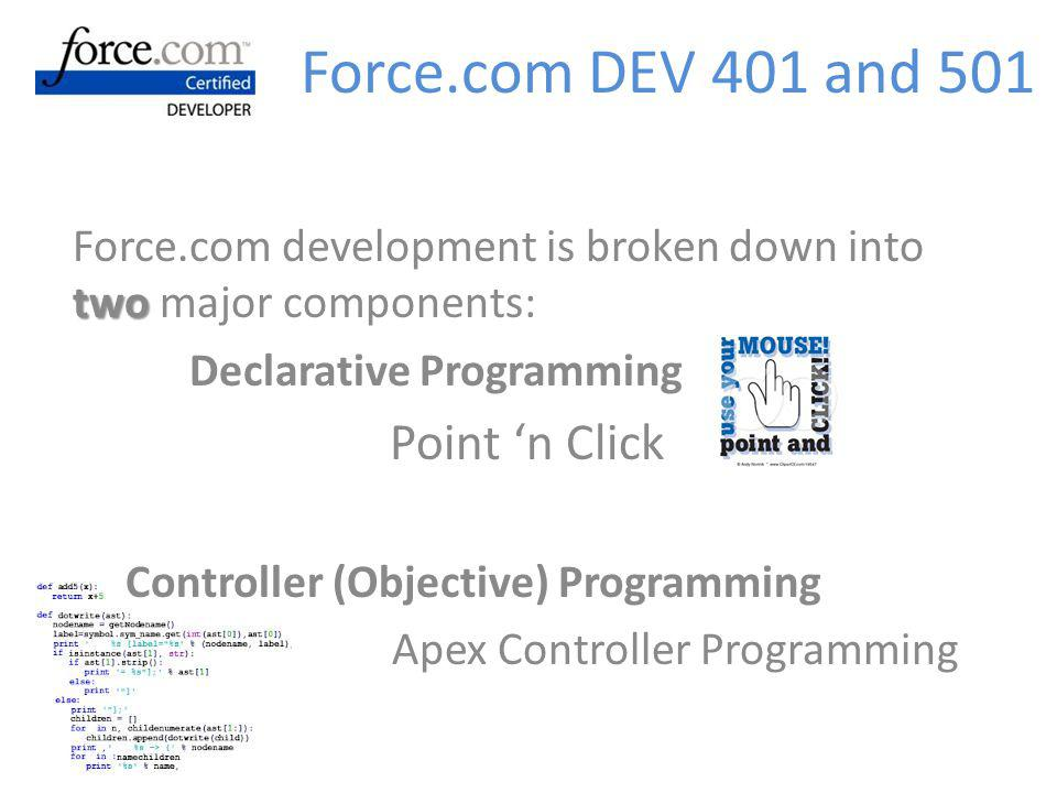 Force.com DEV 401 and 501 Force.com development is broken down into two major components: Declarative Programming.